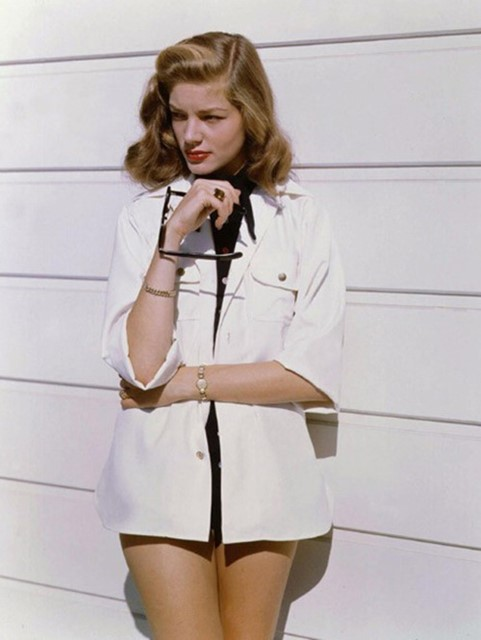 Lauren Bacall in a white shirt