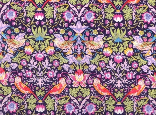 William Morris' Strawberry Thief in Acid Tones