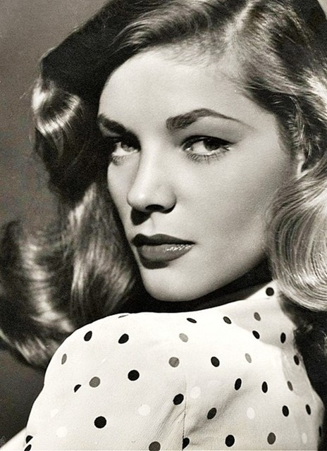 lauren Bacall in a polka dot shirt