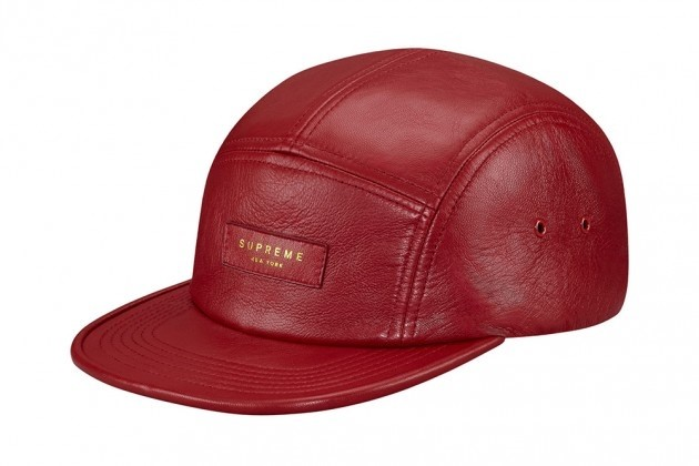Supreme Red Leather Camp Cap