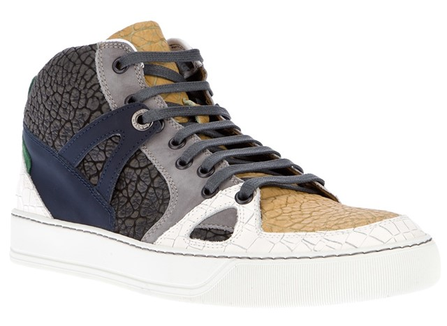 LANVIN textured panel hi-top