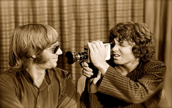 Jim Morrison filming Ray Manzarek