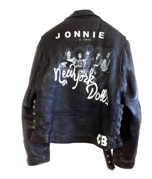 'New York Dolls' Hand Painted Leather Biker Jacket by Claire Barrow