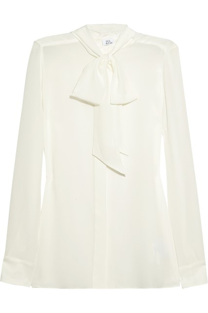Iris & Ink pussybow silk-crepe blouse