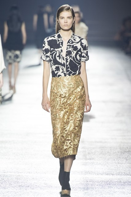 Dries' gold guipure skirt