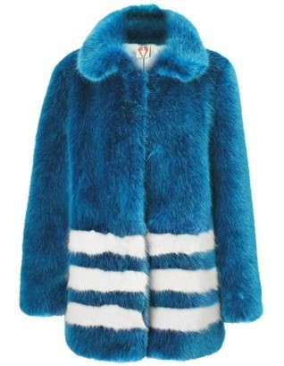 Blue Fur Effect Pallas Coat by Shrimps