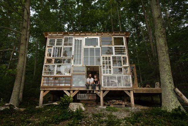 A Glass House built from salvaged windows