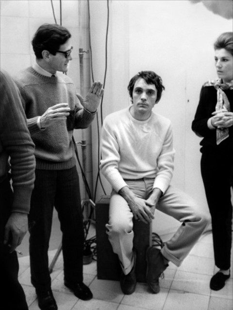 Terrence Stamp and Pier Paolo Pasolini on the Teorema set