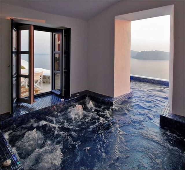 An indoor/outdoor hot tub