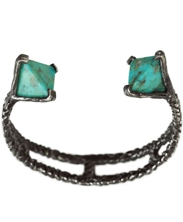 Unearthen turquoise silver prism cuff