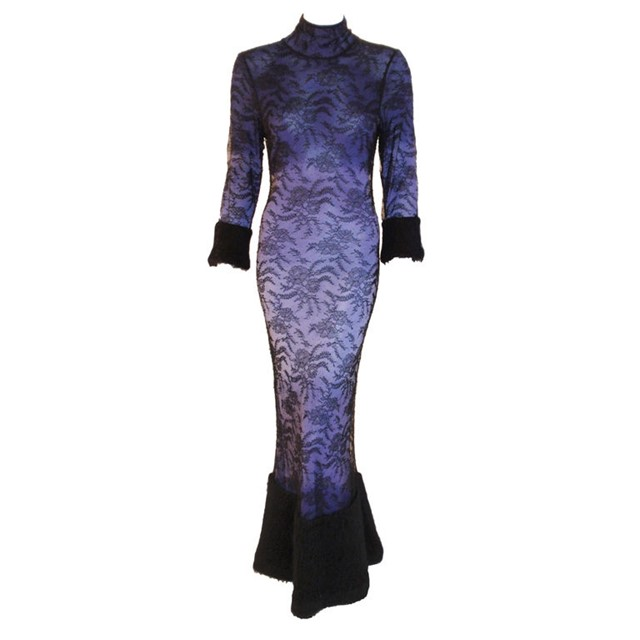 90's John Galliano lavender , lace and mohair gown