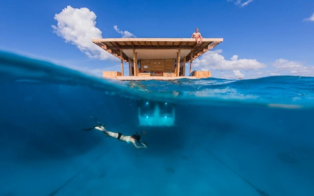 An underwater bedroom in a floating hotel, Zanzibar