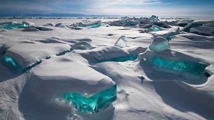 Turquoise ice in Baikal, Russia