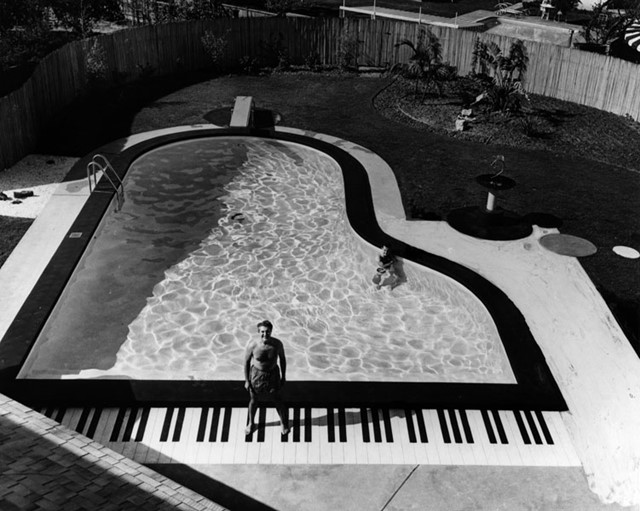 Liberace's piano shaped pool