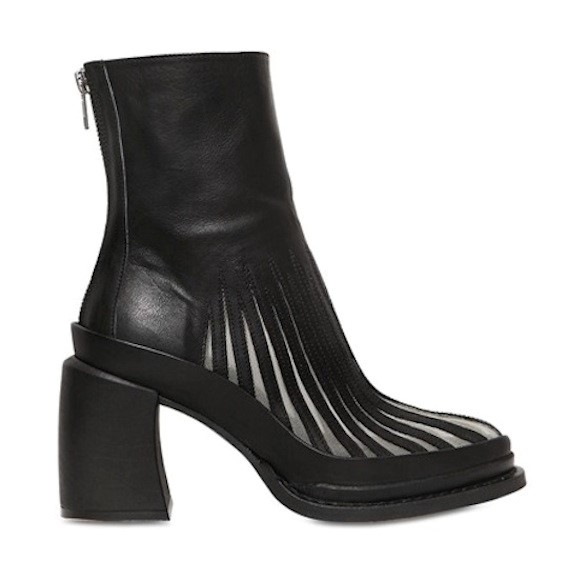 ANN DEMEULEMEESTER LEATHER + MESH BOOTS
