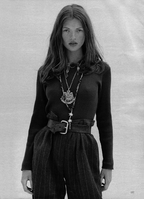 Kate Moss in pinstripe trousers
