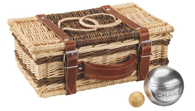 Bocce set in braided wicker-and-leather basket