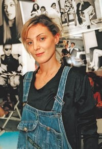 Phoebe Philo in dungarees