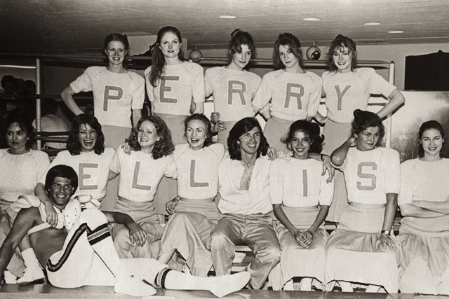 Perry Ellis with models and the Princeton University quarterback, fall 1978