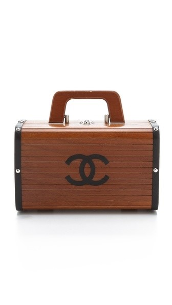 Wood and Leather Bag by Chanel