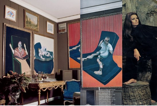 Francis Bacon at Sophia Loren's home Villa Ponti, 1970
