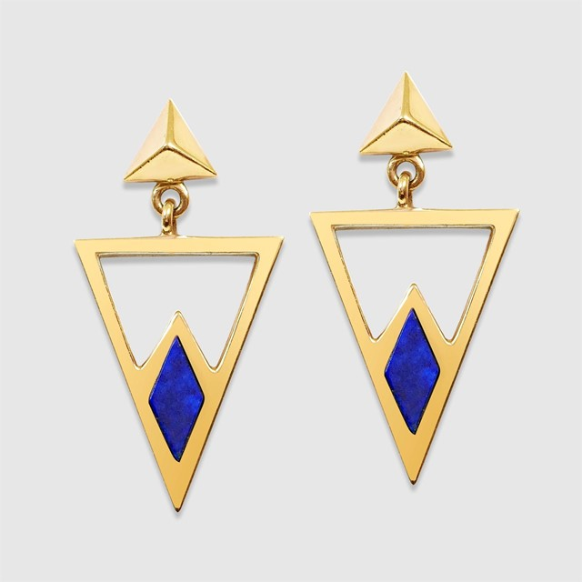 Gold and Lapiz Triangle Earrings by Gee Woods