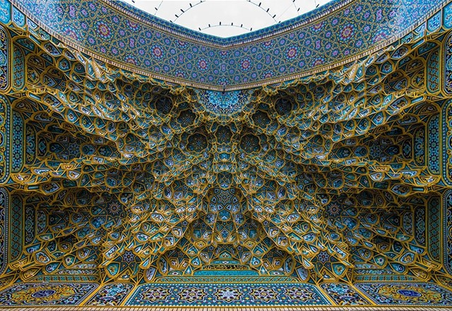Ceiling of the Fatima Masumeh Shrine, Iran