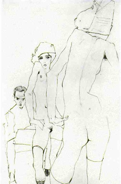 Schiele Drawing Nude before Mirror, 1910