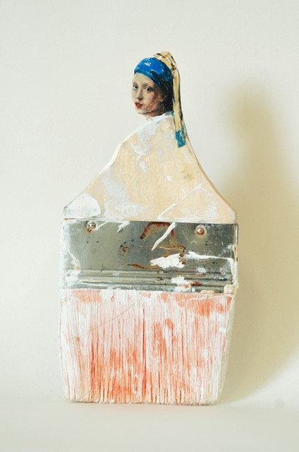 """The World Is Your Oyster"" (2013) oil on carved paintbrush by Rebecca Szeto"