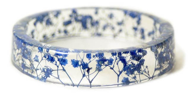 Blue Flower Resin Bracelet