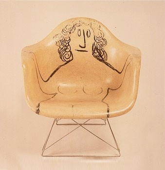 Eames chair with drawing by Saul Steinberg, 1950