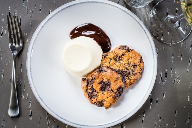 Choc Chip Cookies, Panna Cotta and Chocolate Sauce at The Culpeper