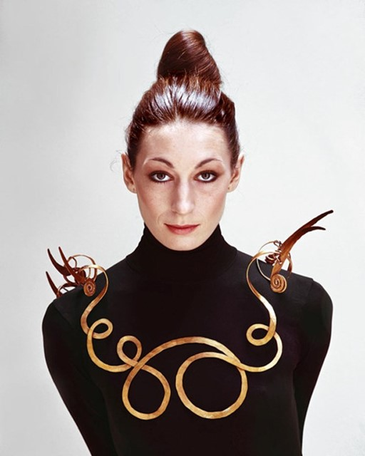 Anjelica Huston wearing Alexander Calder's big bra