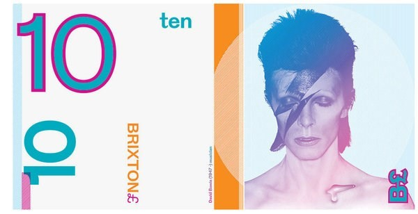£10 Brixton Bowie note by Charlie Waterhouse and Clive Paul Russell