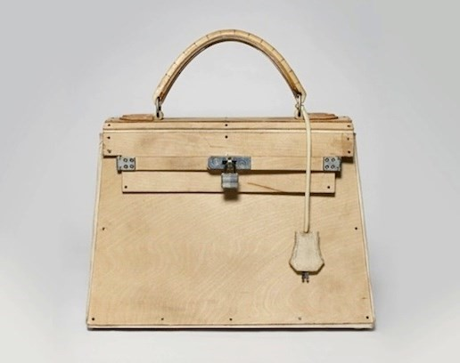 wooden Kelly bag by Tom Sachs