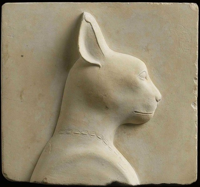Cat, double-sided votive relief, Egypt, 305-30 B