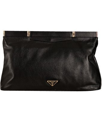 Prada black calfskin framed oversized clutch