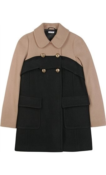 Colour block wool coat by Miu Miu