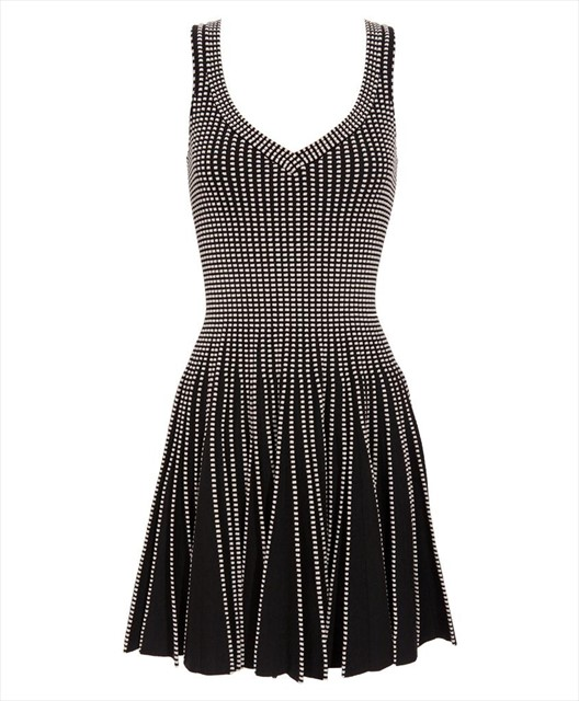 Azzedine Alaia pleated dress with knitted detail