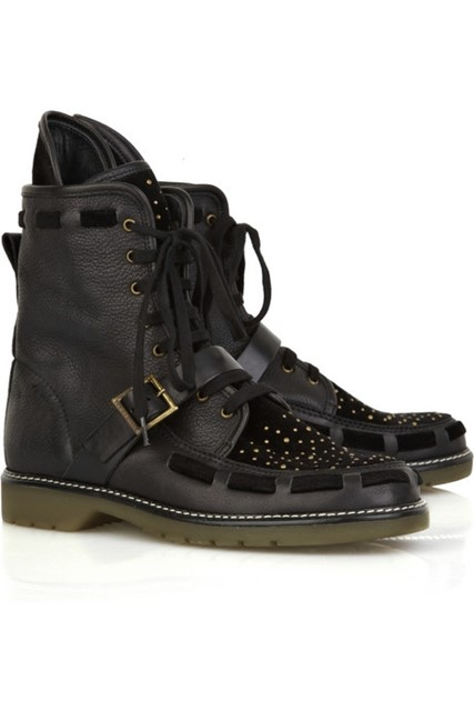 SEE BY CHLOE GOLD STUDDED LEATHER & VELVET BOOTS