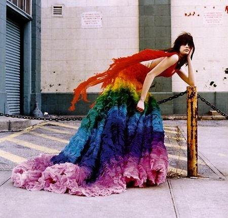 Alexander McQueen Rainbow shipwreck dress S/S03