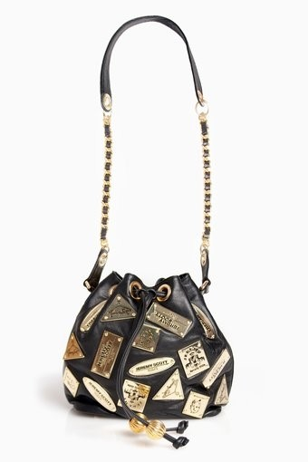 Jeremy Scott metal plaque chain purse