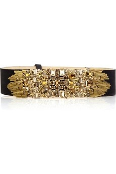Alexander McQueen - Jewel-embellished wide satin belt