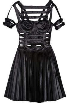 Versus / Pleated satin cutout dress