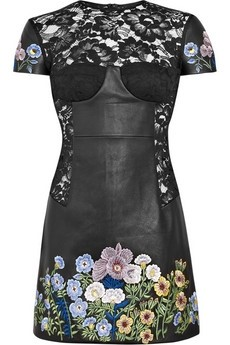 Christopher Kane / Jenny leather and lace embroidered dress