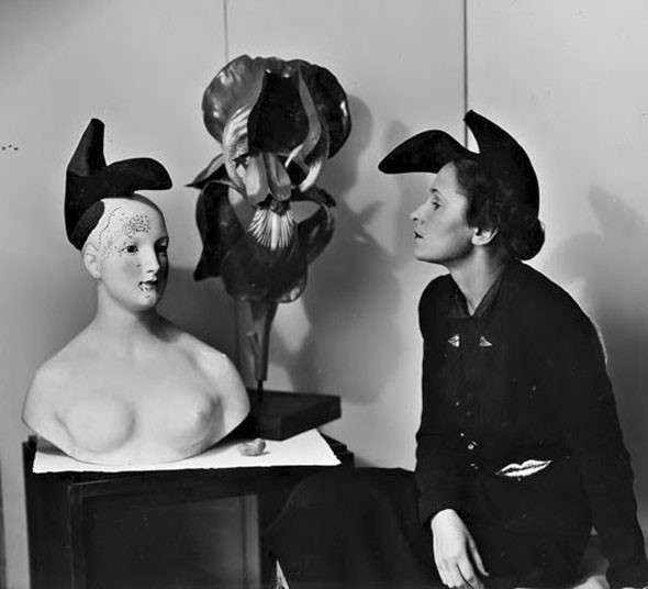 Elsa Schiaparelli and Salvadore Dali's original 'shoe hat'