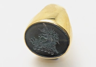 Black Jade Unicorn Crested Gold Plated Silver Ring