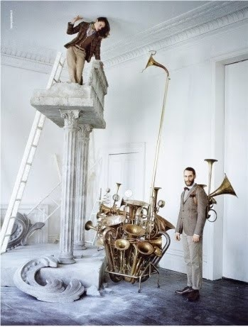 Andy Macgregor wearing a brass back pack by Tim Walker