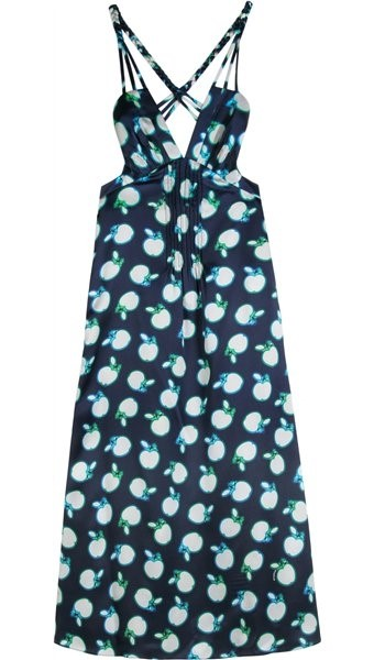 Apple print silk dress by Miu Miu