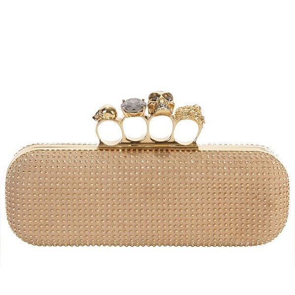 Alexander McQueen  Buff Gold Studded Knuckle Box Clutch